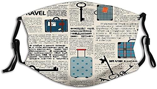Antiguo periódico decoración estilo retro viaje vacaciones tema vintage maletas llaves texto punto máscara facial anti transpirable filtro absorbe el sudor lavable máscaras para adultos