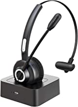 Langsdom Bluetooth Headsets for Cell Phones, 24 Hrs Talk Time,Wireless Headset, CVC 8.0 Noise Cancelling On Ear Bluetooth Headphones with Microphone,Charging Dock for PC iPhone Android (Black)