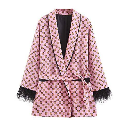 Green Plaid veer kimono mantel losse riem mantel dames breedte beenbroek pyjama roze tweedelig vrouwen lente zomer