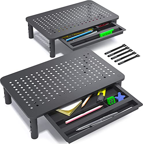 EVOOMI Back Saver Monitor Riser with Drawer - 2 Pack - Gain 5 Weeks a Year, Less Pain & Peak Productivity with Anti Skid Mesh Metal Desk Stand for PC Laptop Notebook Printer - Holds 44 LB Computer