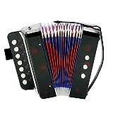 Knoijijuo Niños Niños de acordeón Instrumentos de Teclado con Teclas de Siete Alturas 3 válvulas de Aire Correa de Aprendizaje Temprano Eduction Instrumento música