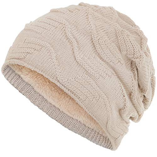 Compagno Mütze warm gefütterte Wintermütze Elegantes Strickmuster Beanie Einheitsgröße, Farbe:Beige