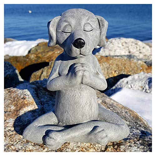 Dog Buddha, Meditation Pet Dog, Cat, Rabbit Statue - Yoga Dog Garden Decor, Dog Garden Sculpture Decoration, Spring Home Outdoor, Resin Wall Art Decorative for Outdoors Patio Yard Lawn Porch (Dog)