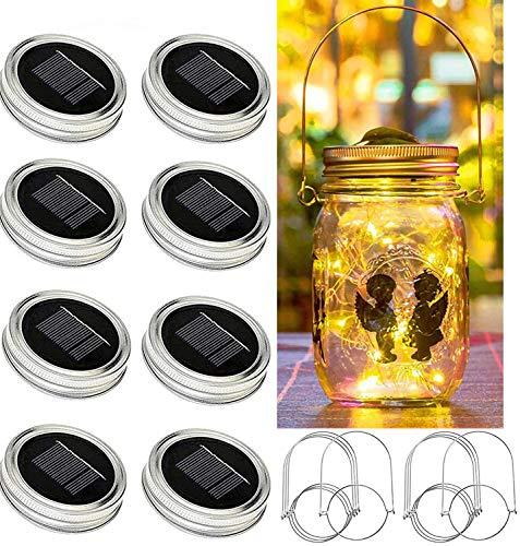Bethlehem Lighting Solar Mason jar Light, 8 Pack 30Led Waterproof Fairy Firefly jar lid Lights, Including 8 Hangers and 6 pcs PVC (Jars Not Included), Best for Courtyard Garden,Wedding Decoration