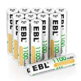 EBL AAA Akku 1100mAh 12 Stück - wiederaufladbare Micro AAA Batterien, geringe Selbstentladung, 1,2V AAA Batterie