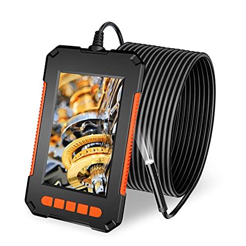 YOVOCA Endoscopio Industriale, Telecamera di Ispezione Tubi 4,3 Pollice Schermo LCD, 1080P HD Boroscopio Snake Telecamera 5M, IP67 Impermeabile, 8 LED, Batteria 2600 mAh