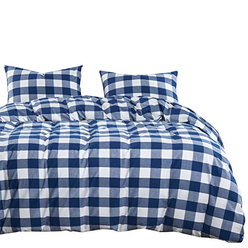 Wake In Cloud - Washed Cotton Duvet Cover Set, Buffalo Check Gingham Plaid Geometric Checker Pattern Printed in Navy Blue White, 100% Cotton Bedding, with Zipper Closure (3pcs, Full Size)