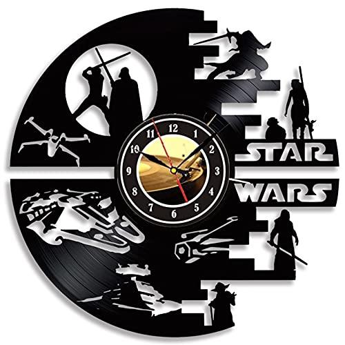 Cheemy Joint Star Wars - Reloj de Pared de Vinilo con LED de 12' (Placa de Vinilo), diseño de Star Wars Lámpara Colgante Creativa con 7 Colores de luz, Vinilo, Modelo A3-4 sin LED, 30 x 30 cm