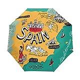 Spain Map Lugares de Interés Compacto Paraguas de Viaje, Lluvia al aire libre Sol Coche Paraguas Plegable Paraguas para Resistente al Viento Toldo Reforzado Protección UV Mango Ergonómico Auto Abrir/Cerrar