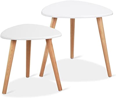 f44aa0677d Yaheetech White Gloss Wood Nesting Tables Living Room Sofa Side End Table  Set of 2