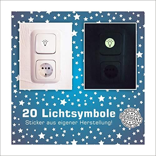 Folien-zentrum 20 x Leuchtpunkte Leuchtsterne Leuchtaufkleber Wandsticker Sterne Aufkleber Sticker Kinderzimmer Schlafzimmer (Symbol)