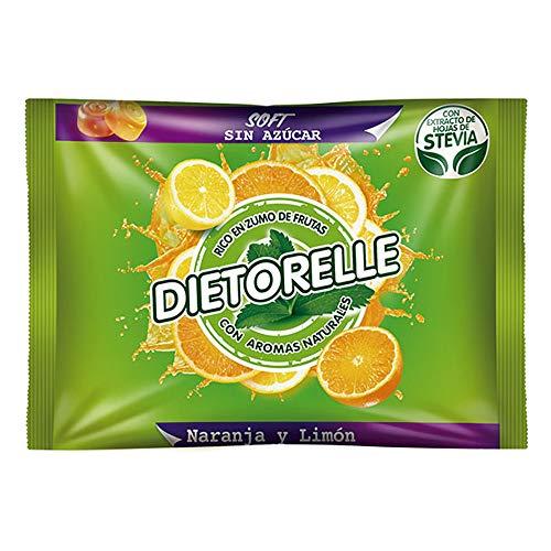 Dietorelle - Caramelle Morbide Arancia e Limone, Senza Zucchero e Senza Gelatina Animale, 100% Vegan - Sacchetto da 800 gr