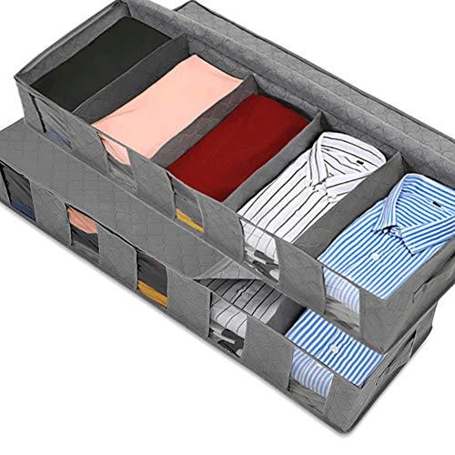 Queta 2pcs Bolsa de Almacenamiento, Bolsa de Almacenamiento Plegable con Compartimentos, Bolsa de Almacenaje bajo la cama con ventana transparente para mantas, edredones, mantas, ropa