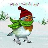 Weihnachtskarte - Winter Wonderland - Rotkehlchen – Schlittschuh