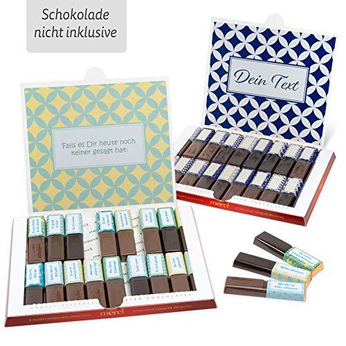 Netti Li Jae ® Aufkleber Set für Merci Schokolade für 2 persönliche Geschenke: Das persönliche Dankeschön und kreative Geschenkidee (Kleine Aufmunterung)