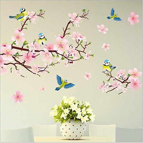 HALLOBO® Wandtattoo XL Vogel Blumen Pfirsichblüte Wandaufkleber Wandsticker Wohnzimmer Schlafzimmer Deco Wall Sticker