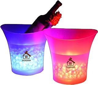 Seau à glace de 5L à lumière LED colorée - Pour champagne, vin, boissons, bière - Pour bar, fête