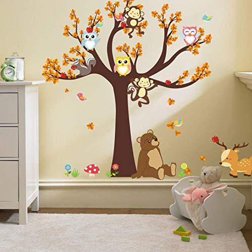 Großer Karikaturwaldgroßer Baumeulenaffe-Bärnkinderzimmerhintergrunddekoration entfernbare Wand sticker-ZYPA-084-NN