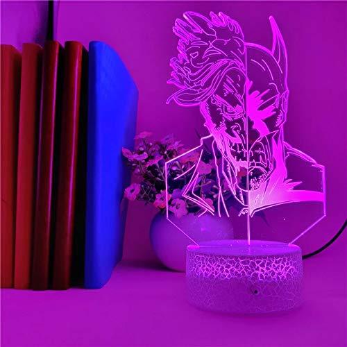 Justicia resplandeciente y base de crack malvado lámpara de mesa pequeña creativa decoración creativa lámpara de mesa pequeña luz LED acrílico luz de noche multicolor luz visual 3D
