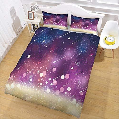 aakkjjzz Duvet Cover Set Ultra Soft 3 Pcs Bedding Set With Zipper Closure 100% Polyester Purple Starlight Quilt Duvet Cover 220X260cm and 2 Pieces Pillowcases 50X75cm for Bedroom