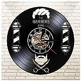 Hanzeze Reloj de Pared de Vinilo - Peluquería 3D Vintage Cuarzo Silencioso Hecho Mano Negro Moderno Regalo Creativo único Decoración Hogar Arte 30cm