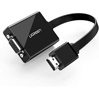 UGREEN Adaptador HDMI a VGA (1080P, Audio 3.5mm, con Micro USB para Alimentación), Para PC/Laptop/Consola Nintendo y PS/TV Box/Raspberry Pi/Projector y HD TV (Negro)