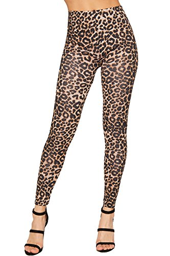 WearAll - Damen Leopard Tier Druck Leggings - Braun - 36-38