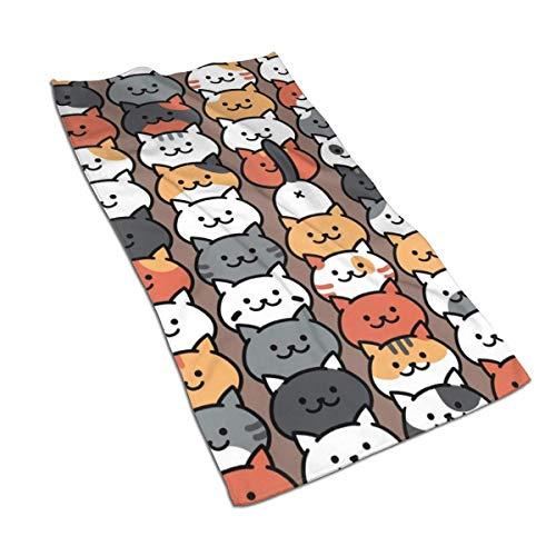 Toallas de Mano Adorable Gato de Dibujos Animados Toalla de baño Fina, Ultra Suave Altamente Absorbente Toalla de baño pequeña Decoración de baño, 27.5x15.7 In