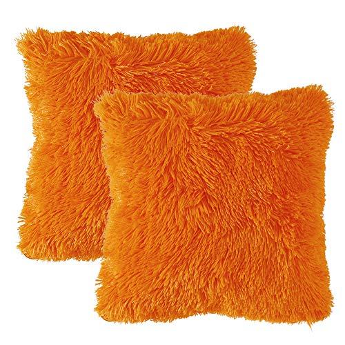 MIULEE 2er Set Soft Künstlich Pelz Throw Kissenbezüge Set Dekorative Dekokissen Kissen Fall für Sofa Schlafzimmer Auto 24x24inch 60x60 cm Orange