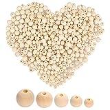 WOWOSS 500Pcs Perles en bois naturel rondes non finies pour la...