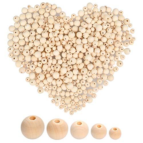 WOWOSS 500Pcs Perles en Bois Naturel Rondes Non finies pour la Fabrication de Bijoux, Bracelets, décorations crétives (6, 8, 10, 12, 14mm)