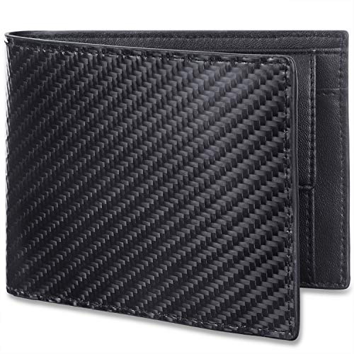 WinCret Kohlefaser Leder Geldbeutel Männer Trifold Portmonaise Herren RFID Portmonee Geldbörse mit Münzfach Portemonnaie im Querformat
