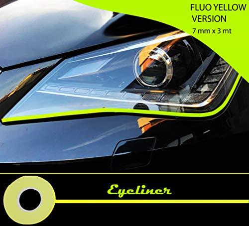 Quattroerre 10805 Stripes Adesive Eyeliner voor koplampen auto, geel fluo