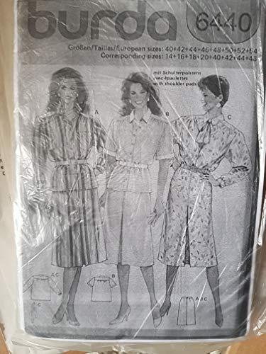 Burda Vintage mehrgrößen Schnittmuster 6440 - Damen Kleid, Hemdblusenkleid - Gr 40-54