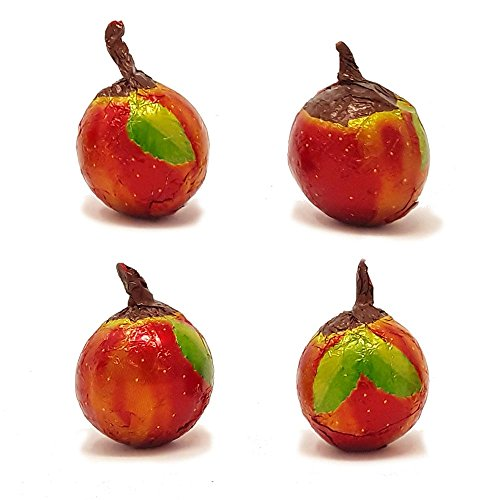 Madelaine Premium Milk Chocolate Balls Filled With Buttery Caramel, Wrapped In Italian Foil Depicting A Delicious Apple - Great Party Favor Candy (Red) (1/2 LB)