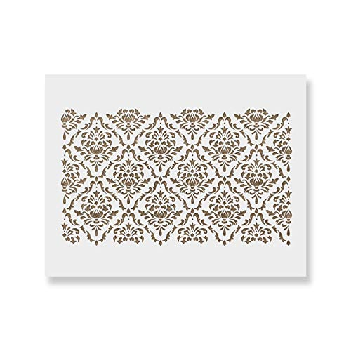 Damask Floral Stencil for Walls - Reusable Large Wall Stencils for Painting and Interior Design Work - 34.5' x 20.5'