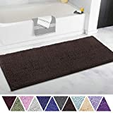 ITSOFT Non Slip Shaggy Chenille Soft Microfibers Runner Large Bath Mat for Bathroom Rug Water Absorbent Carpet, Machine Washable, 21 x 47 Inches Chocolate Brown