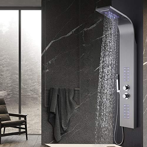 WENHAUS LED Duschpaneel Duschsystem aus 304 Edelstahl Mit Thermostat, 4 Duschfunktionen Wellness Luxus Duschsystem Mit Regendusche Und Handbrause, Wasserfall Massage Jets Duschsäule