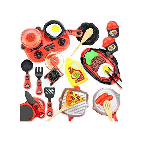 KCSds 26pcs Kücheset Kinder Kochen Spielzeug Kinder Mini-Küche Spielset Realistische Chefs Pretend Nahrungsmittelpartei-Rolle Toy Educational Spiele for Junge Mädchen