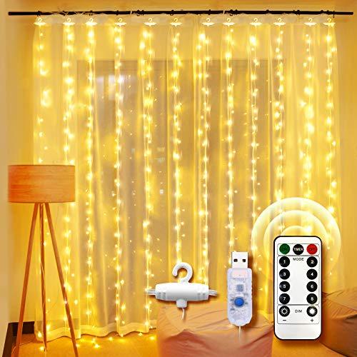 Guirlande Lumineuse Rideau, UNBON 3M*3M Rideau Lumineux 300 LED 8 Modes d'Éclairage Rideau de Lumière USB Blanc Chaud pour Décoration de Noël Intérieur Extérieur Fenêtre Fête Mariage Anniversaire