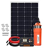ECO-WORTHY 120W Deep Well Submersible Pump Kit, 12V DC Large Flow Low Noise Solar Water Pump with 120W Solar Panel Kit for Irrigation, Deep Well, Breeding