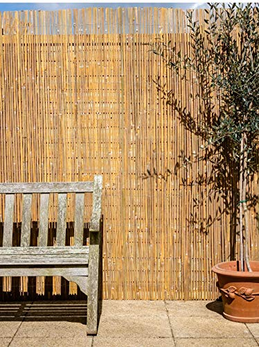 Bamboo Slat Natural Garden Fence Screening Roll Privacy Border Wind/Sun Protection 4.0 x 1.5m (13ft 1in x 4ft 11in) By Papillon