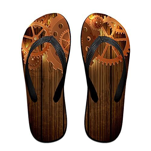 Sandalia fina unisex con chanclas,Fondo industrial abstracto con engranaj, Yoga Mat chancletas de cuero cómodo Beach Tamaño de la correa con el peso ligero EVA Suela S