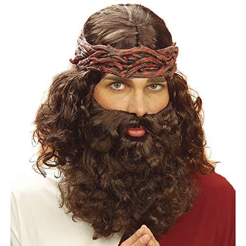 Widmann J6262 – Perücke Jesus, mit Bart, braun, Prophet, biblische Figur, Frisur, Haare, Weihnachten, Ostern, Karneval, Motto Party