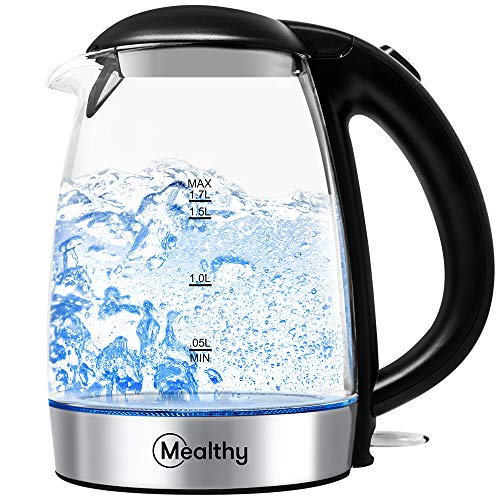 Electric Kettle by Mealthy - Made with high quality Glass and is BPA-Free, 1.7 liter with Auto Shut-Off, Boiler & Tea Heater with LED Indicator Light, Boil-Dry Protection, 100% Stainless Steel Inner Lid & Bottom heater