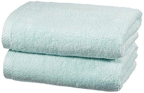 Amazon Basics - Juego de 2 toallas de secado rápido, 2 toallas de mano - Azul claro