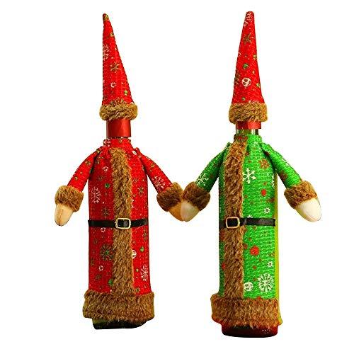 MAXJCN Feiertags-Dekorationen, 3Pcs / Lot Neue rote grüne Kleid Flasche Sets Weihnachten Supplies Dekorative Paket Desktop-Hotels Party Supplies Weinflasche Geschenktüte