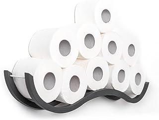 Toiletpapierhouder Badkamer Plank Houten Houder voor Toiletpapier Wave (Grijs)