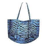 on Woman - Bolso de piel de leopardo de gran capacidad, estilo vintage, color Azul, talla Talla única