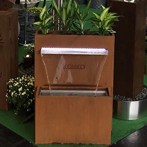 Köhko® bepflanzbarer Wasserfall-Brunnen mit LED-Beleuchtung Höhe 92 cm Wasserspiel aus Cortenstahl/Edelstahl 31007